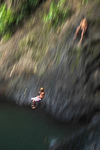 Sliding Rocks Pool, Samoa. A mini Acapaulco in the middle of Upulo. An opportunity to prove your manhood and to get a sinus full of clear cool water if you get your landing badly wrong.