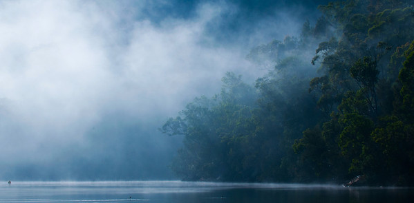 Mist starting to burn off of Cowan Creek, Ku-ring-gai National Park, NSW