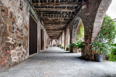 The Arcade of The Plaça Major (Santa Pau, Catalonia)