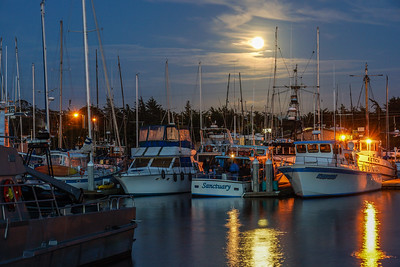 Moonrise over Moss Landing Harbor