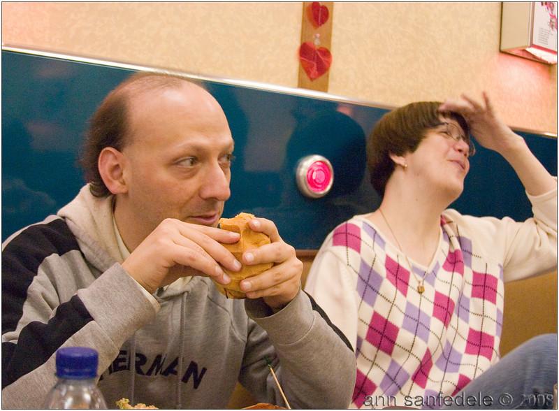 Something is amusing Joel and Diane at dinner break
