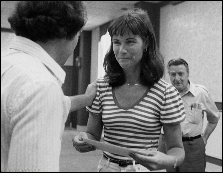 "Charlie Southwell congratulates Jan Dixon when she won the 1st C NOTE tourney in 1984 - Mike Martin, the Game Room's ""Head Prazy"" looks on."