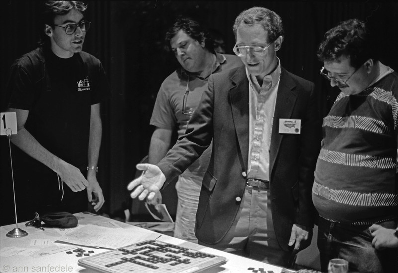 "1992 Nationals in Atlanta - Left to right Mark Nyman, Stan Rubinsky, Joe Edley, Peter Morris.  Edley doing a ""how the game was won"" bit just after his victory against Wapnick was secured.  Morris and Nyman were playing in the tourney - Rubinsky was the director."