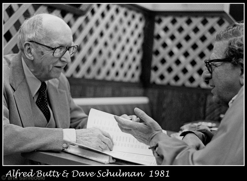 Alfred Butts, Scrabble inventor , made an appearance at a tournament at Arby's in New York City in 1981.  Dave Schulman<br /> passed away in 2004 at the age of 91.  He was in the first North American Open and many New York Tourneys.  He worked on a number of dictionaries and often appeared chatting about word origins and English usage on Leonard Lopate's show on WNYC (NPR) .