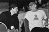 Lester Schonbrun (r) tells film maker Eric Chaikin how it is - while waiting for the award ceremony to being at the 2002 Nationals in San Diego. Eric was at the tourney filming the documentary <I>WORD WARS</I>.