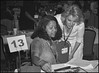 Lisa Odom shows Robin Pollock-Daniel Her winning board in the last game of the Nationals in New Orleans in 2004 at table 13.  Lisa came in 21st of 173 with an 18-11 record. She was the highest finishing woman in the tourney.