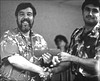 Charles Goldstein accepting 5th place money from Johnny Nevarez at the 1995 Western Championship in Reno.