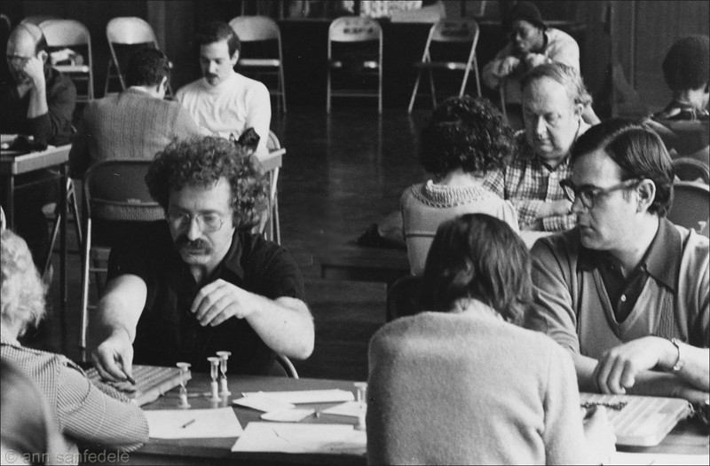 The quarterfinals of the 1979 New York City Tournament... Steve Pfeiffer, right,checking out Paul Avrin's moves at the next board.  Directly behind Avrin is  future US, Canadian and World champion, Joel Wapnick.