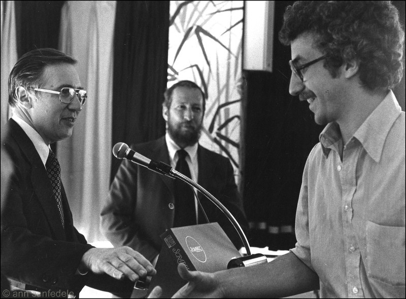 At the Awards Ceremony - The first North American Invitational in May, 1978.  Jim Houle (l.) reaches out a hand to congratulate winner David Prinze (r.)  Joel Skolnick, tourney director, looks on.