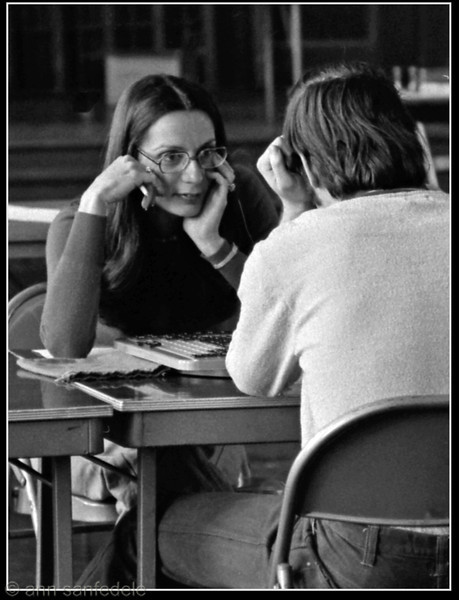 Chris Sigel - at the 1979 New York City Scrabble Championship,<br /> which she won.   Her opponent here was Louis Schecter.