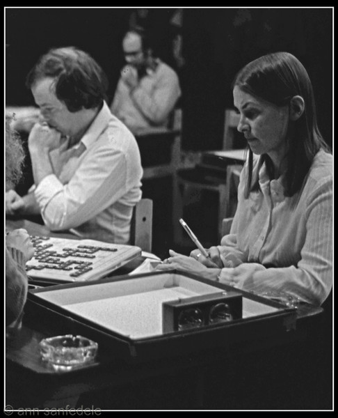 At the 1980 East Coast Regionals held at the Game Room in New York.  Charlie Southwell, Rita Norr.  Not sure who the guy is in the background.