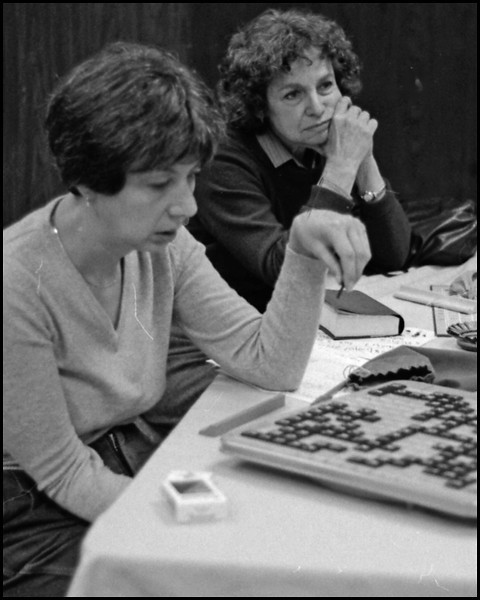 Scrabble is so much fun.   Susi Tiekert  before she was Mrs. Tiekert.  In the 1982 Washington DC area tourney.<br /> Nora Fisher is waiting for her next opponent.