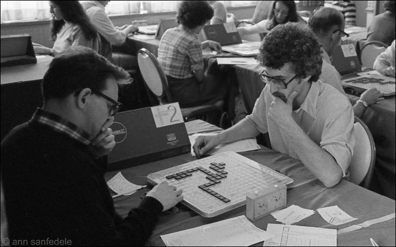 1978 -  Fran Kuenrich (L) and Dave Prinz face off at table 2 at the first North American Scrabble Championship  NYC