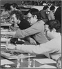 Front to back, Steve Tier, Steve Pfeifer, Paul Avrin, Josh Silber, Jeff Kastner New York City Scrabble Tournament at the Brooklyn War Memorial - 1979.  At the other table, in soft-focus are Lyn Seltzer and Charlene White.