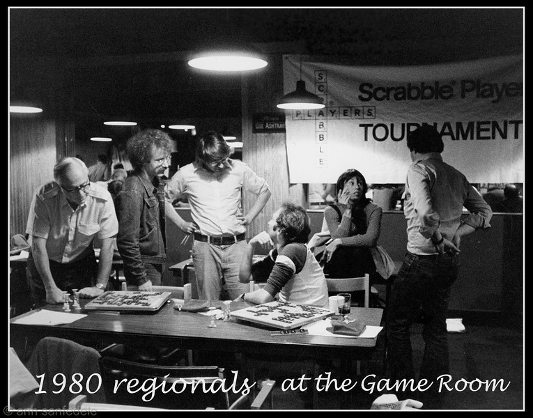 Hanging out during lunch break at the 1980 regionals.  L. to R. Irv Samuels, Paul Avrin, Merrill Kaitz, Lyn Selzer, Andrea Siegel, Ed Hepner.