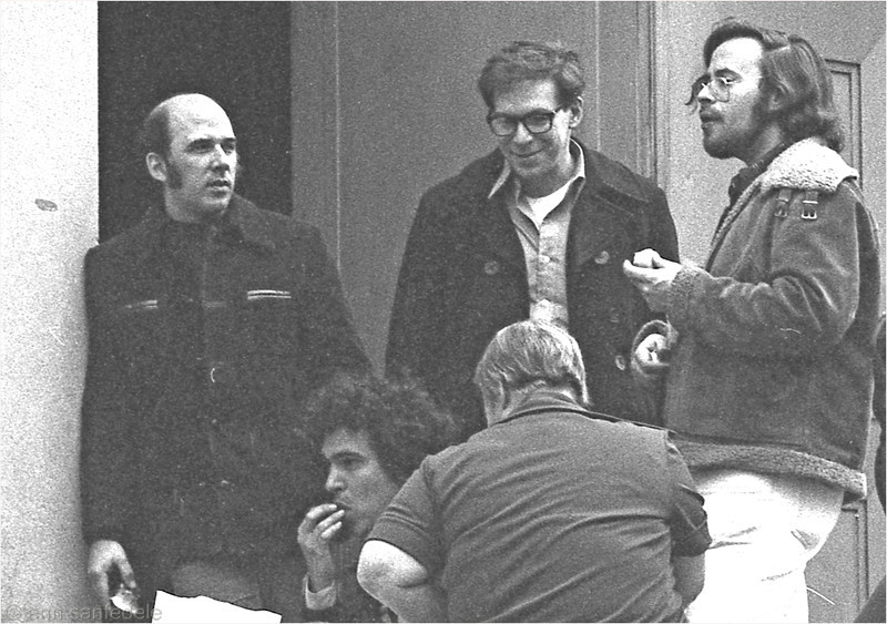 Waiting for the Doors to Open, top NYC Scrabble Players hang out by  the Cadman Plaza War Memorial entrance top row L to R Jim Guillot, Frank Kuehnrich, Josh Silber. Seated - Arnie Alpert, Roz Grossman.  They were participating in the 1978 New York City Championship.