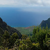 The Kalaulau Valley, about 4,000 feet down, as seen from the Pu'u o Kila lookout. The valley was once inhabited, but no longer. It is accessible only by boat or by a difficult, dangerous 11-mile hike.