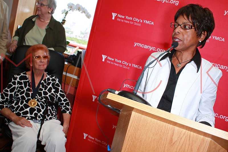 "NEW YORK - AUGUST 21:  Rena ""Rusty"" Kanokogi (L) and Senior director of Athlete Marketing & Promotions for Women's Sports Foundation Yolanda L. Jackson attends the Rena ""Rusty"" Kanokogi YMCA Gold Medal Luncheon at Prospect Park YMCA Rooftop on August 21, 2009 in the Borough of Brooklyn in New York City.  (Photo by Steve Mack/S.D. Mack Pictures) *** Local Caption *** Rena ""Rusty"" Kanokogi; Yolanda L. Jackson"