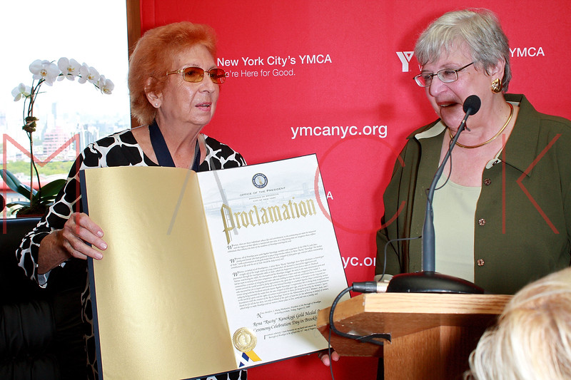 "NEW YORK - AUGUST 21:  Rena ""Rusty"" Kanokogi and Judge Alice Rubin attends the Rena ""Rusty"" Kanokogi YMCA Gold Medal Luncheon at Prospect Park YMCA Rooftop on August 21, 2009 in the Borough of Brooklyn in New York City.  (Photo by Steve Mack/S.D. Mack Pictures) *** Local Caption *** Rena ""Rusty"" Kanokogi; Judge Alice Rubin"
