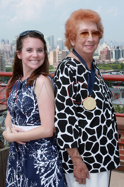 "NEW YORK - AUGUST 21:  Ellen Murphy and Rena ""Rusty"" Kanokogi attend the Rena ""Rusty"" Kanokogi YMCA Gold Medal Luncheon at Prospect Park YMCA Rooftop on August 21, 2009 in the Borough of Brooklyn in New York City.  (Photo by Steve Mack/Getty Images) *** Local Caption *** Ellen Murphy; Rena ""Rusty"" Kanokogi"