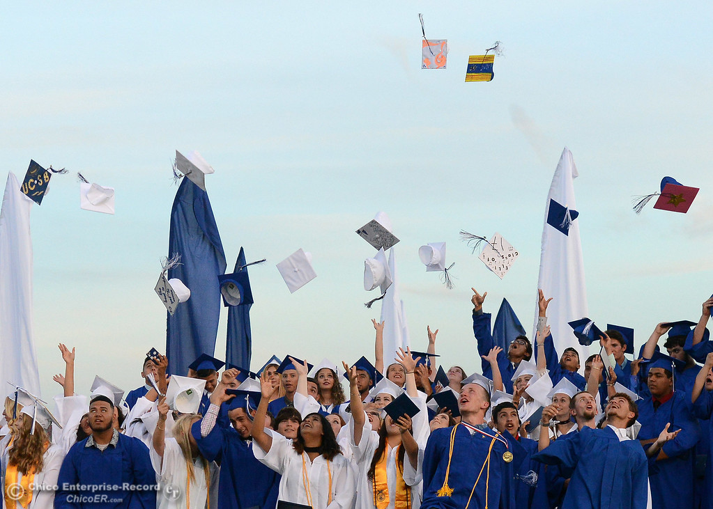 . Caps fly as Orland High seniors graduate Friday, June 2, 2017, in Orland, California. (Dan Reidel -- Enterprise-Record)