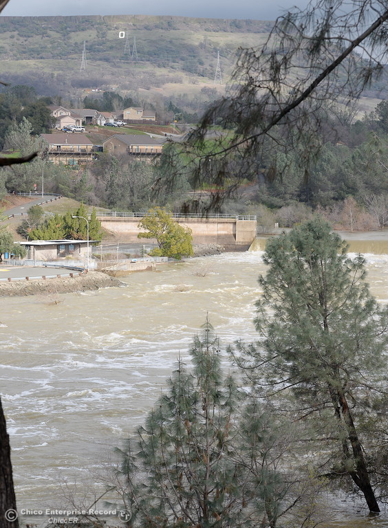 . The Feather River continues to flow high near the Feather River Nature Center across from the fish hatchery as the Lake Oroville Dam Spillway emergency continues in Oroville, Calif. Thurs. Feb. 16, 2017. (Bill Husa -- Enterprise-Record)