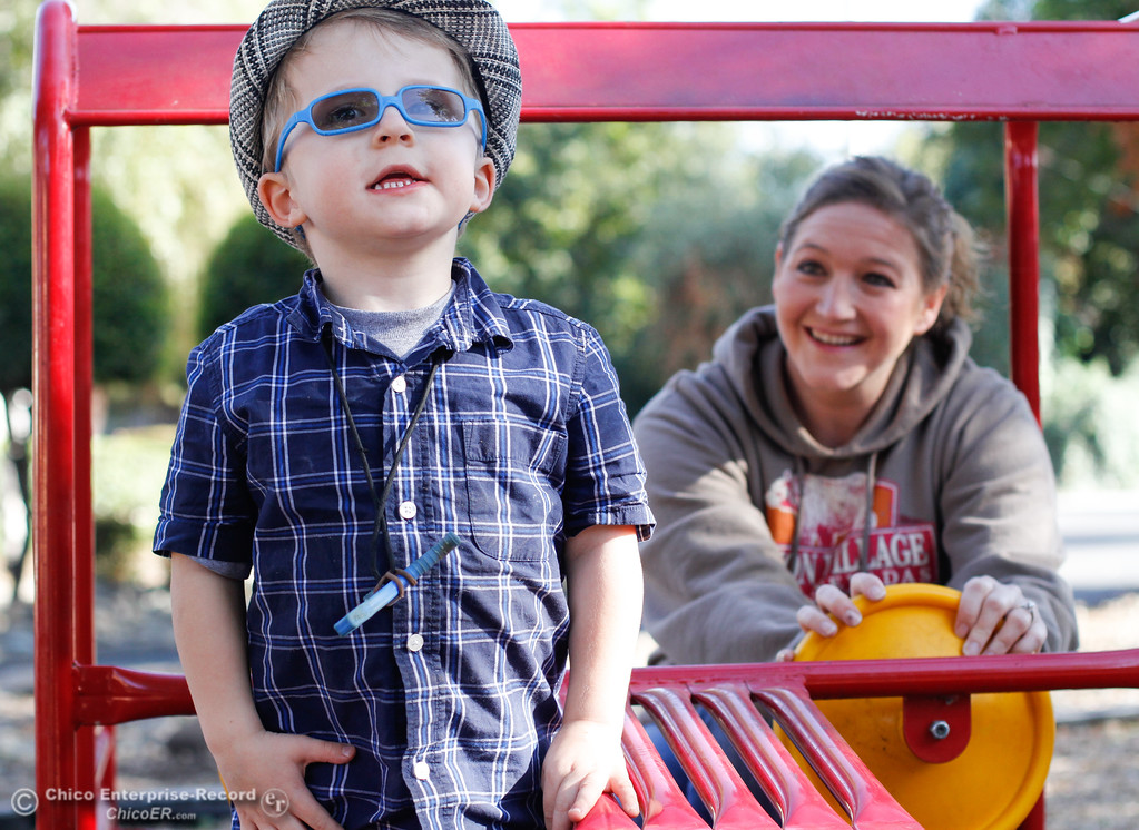 ". Noah Rowdy Bedlington-Pantoja ""Rowdy,\"" a 4-year-old with autism plays on the playground with his in house therapy provider Jenni Porter Thursday September 21, 2017 in Chico, California. (Emily Bertolino -- Enterprise-Record)"