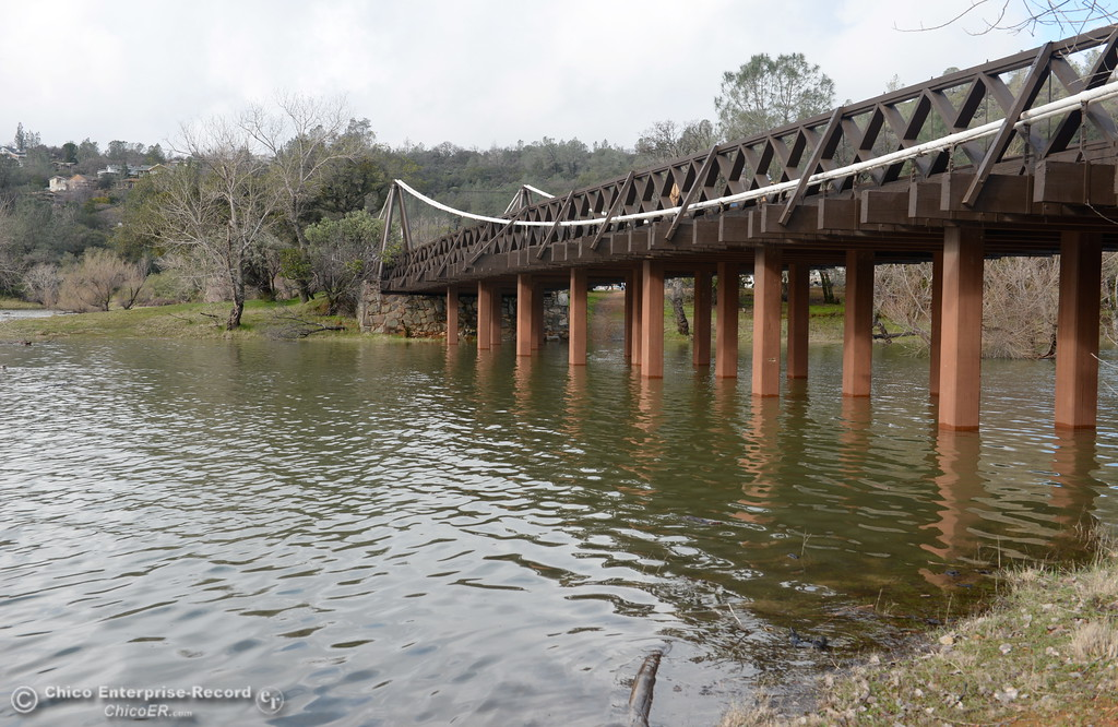. Water once again flows beneath the Old Bidwell Bar Bridge near the Bidwell Canyon Marina on Lake Oroville Friday Feb. 10, 2017. (Bill Husa -- Enterprise-Record)