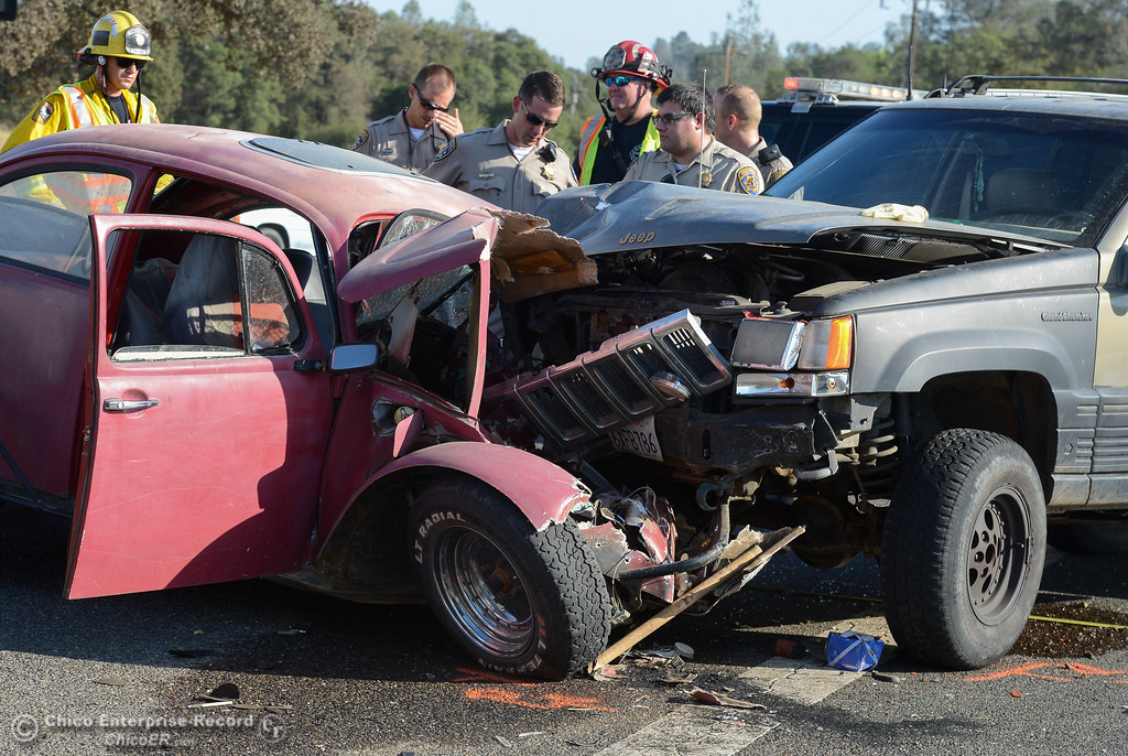 . A two car collision leaves one man dead Tuesday September 12, 2017 along Highway 162 at Kelly Ridge Road in Oroville, California. (Emily Bertolino -- Mercury-Register)