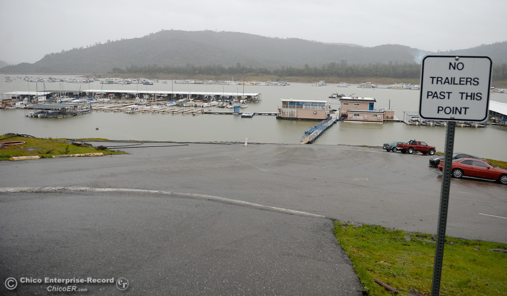 . More land becomes visible once again as water levels recede near the Bidwell Canyon Marina Friday as the Lake Oroville Dam Spillway emergency continues in Oroville, Calif. Frid. Feb. 17, 2017. (Bill Husa -- Enterprise-Record)