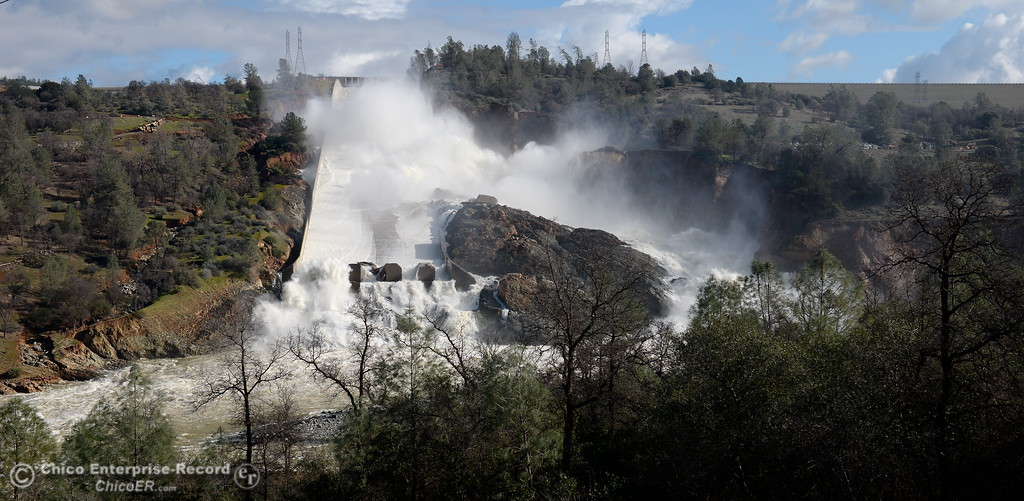 . The damaged Lake Oroville spillway dumps approx. 60,000 cfs of water into the Diversion Pool in Oroville, Calif. Thurs. Feb. 23, 2017. (Bill Husa -- Enterprise-Record)