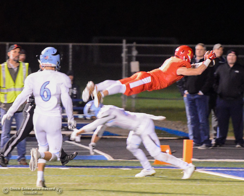 . Chico High\'s Ethan Bainbridge (3) does a flip into the end zone to score a touchdown against Pleasant Valley in the Northern Section Division II semifinal football game Friday November 17, 2017 at Asgard Yard in Chico, California. (Emily Bertolino -- Enterprise-Record)