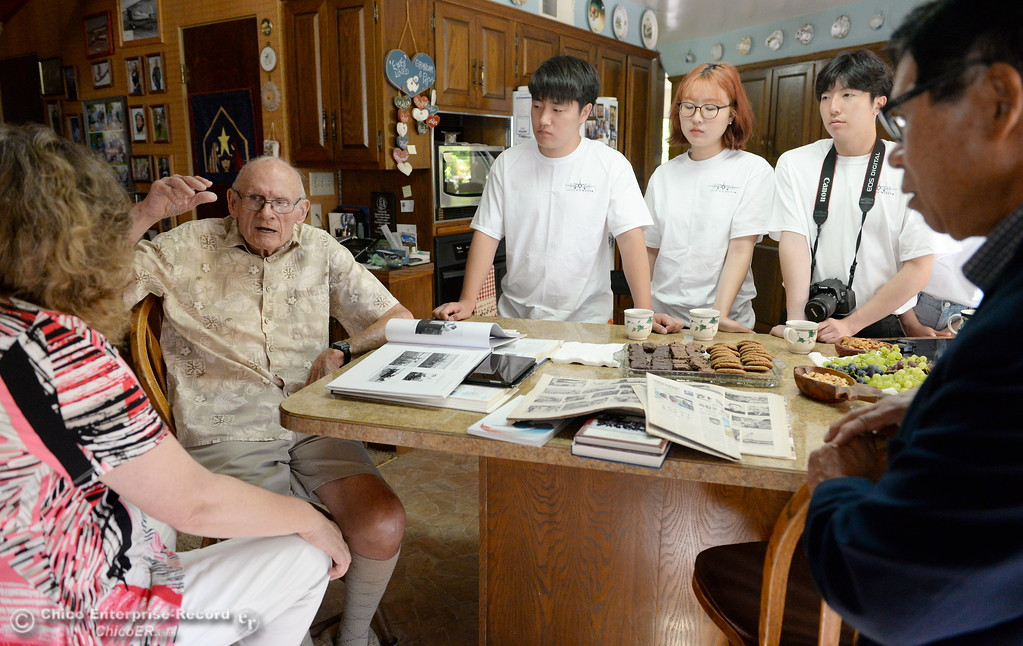 . Korean students talk with Frank and Lila Prentice about growing up in Willows Monday Aug. 14, 2017. Ki Won Rhew is a professor trying to build a museum to commemorate a flying school that operated in the 1920\'s to teach Koreans to fly in a bid to fight Japan.  (Bill Husa -- Enterprise-Record)
