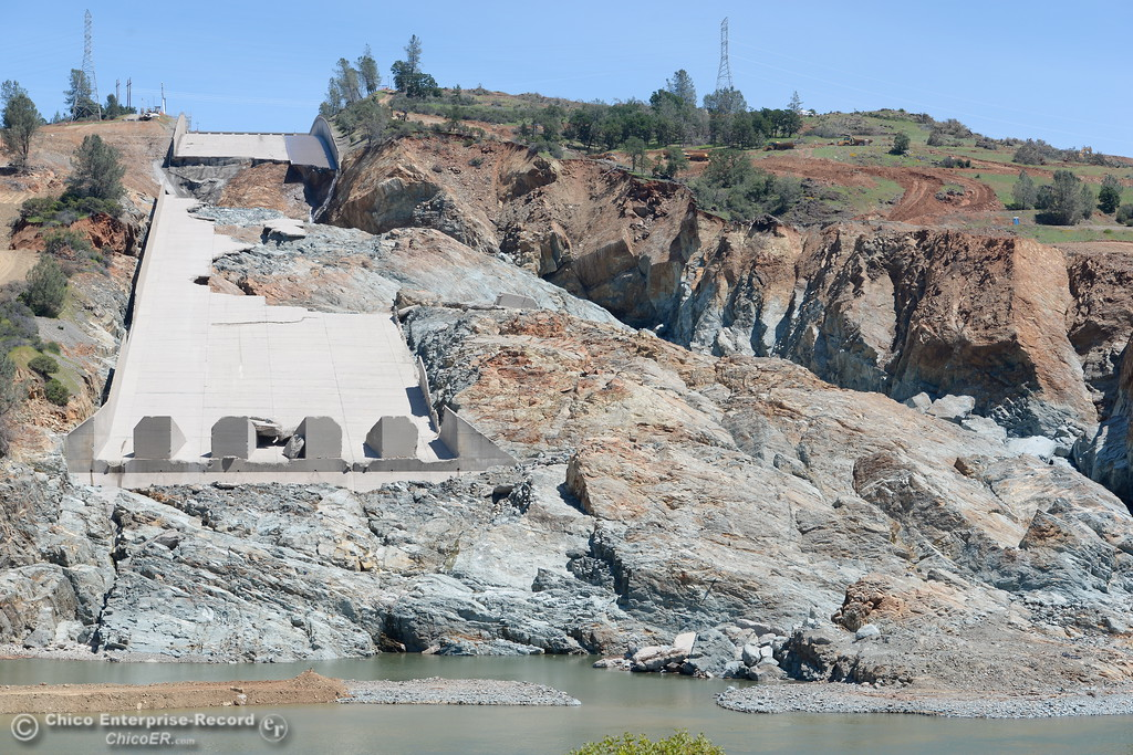 . Water flows are currently stopped at the damaged spillway as crews continue to work on the project in Oroville, Calif. Tuesday May 2, 2017.  (Bill Husa -- Enterprise-Record)