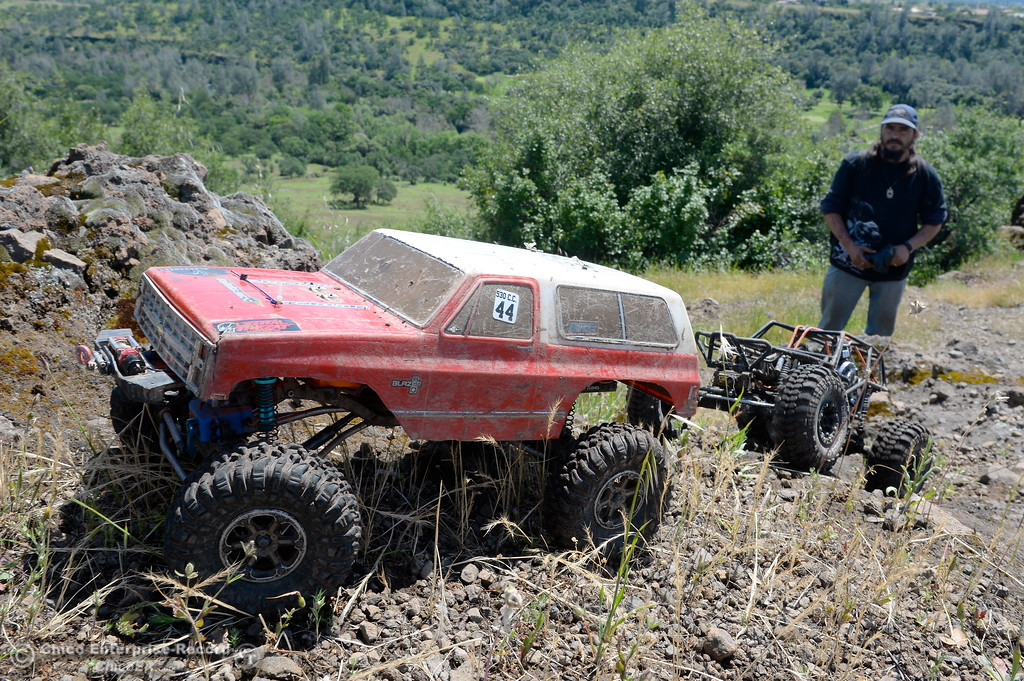 . Ewell Kelso of Oroville drives his miniature Blazer rock crawler while Thomas Boling of Oroville (not in photo)drives his Exocage crawler near Monkey Face in Upper Bidwell Park, Chico Calif. Tues. April 18, 2017.  (Bill Husa -- Enterprise-Record)