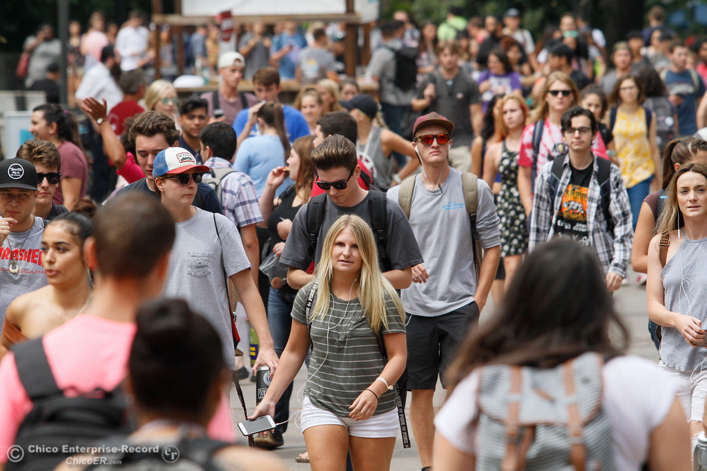 . The Chico State University campus is buzzing with activity as students tackle the second day of the fall semester Tuesday August 22, 2017 at Chico State in Chico, California. (Emily Bertolino -- Enterprise- Record)