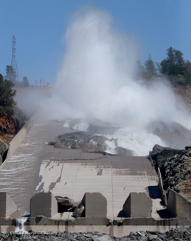 . 35,000 CFS flows down the damaged Lake Oroville Spillway Friday April 14, 2017.  (Bill Husa -- Enterprise-Record)