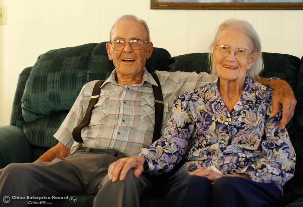 . Orville and Edith Bowles are 100 years old and celebrating 80th wedding anniversary Sunday Thursday August 24, 2017 in Oroville, California. (Emily Bertolino -- Mercury-Register)