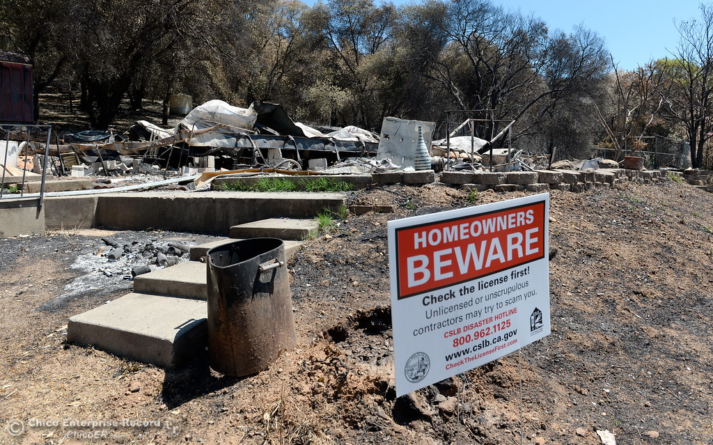 . The property of Cody Richardson is seen off of John Marden Lane was reduced to ash and rubble during the Wall Fire are seen in Oroville, Calif. Wed. July 26, 2017. (Bill Husa -- Enterprise-Record)