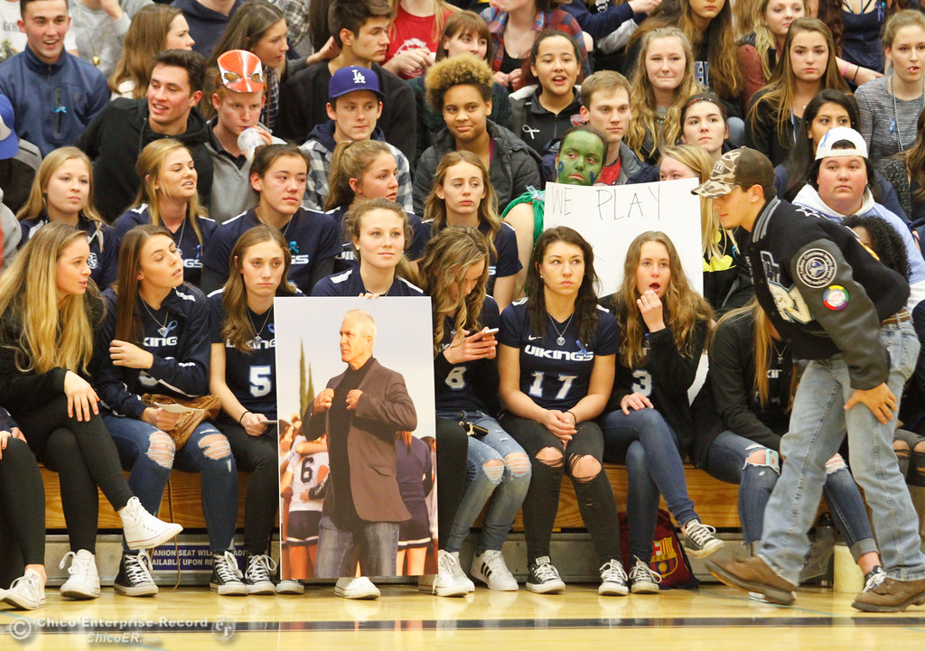. Students honor Pleasant Valley High School teacher and varsity girls soccer coach Brett Silva, who died in a head-on car crash on Highway 32 Sunday, during the Foothill at Pleasant Valley boys basketball game January 24, 2017 in Chico, California.  (Emily Bertolino -- Enterprise-Record)