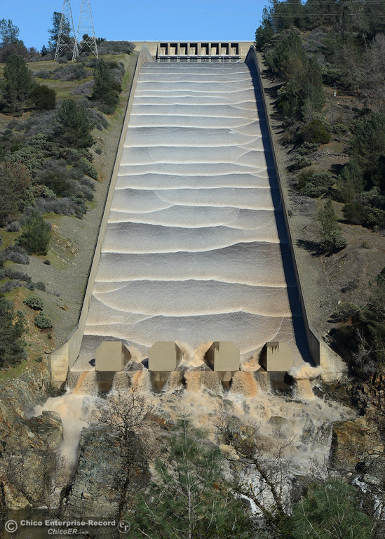 . Water flows Friday, Jan. 13, 2017, down the Lake Oroville dam spillway in Oroville, California. (Dan Reidel -- Mercury-Register)