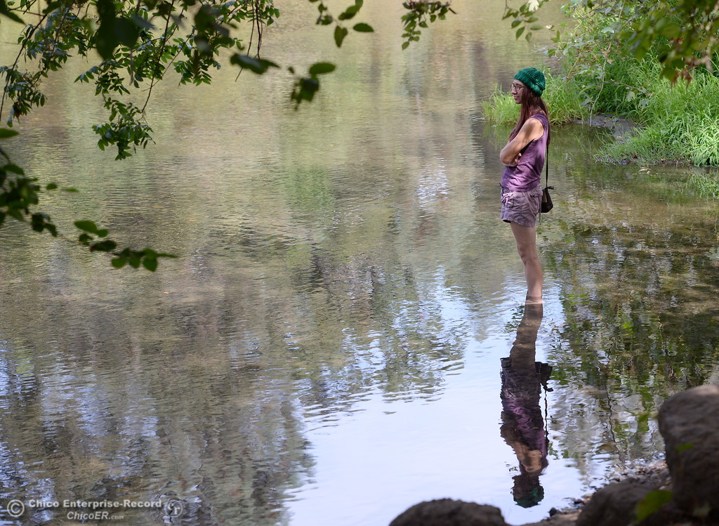 . April Mangino of Chico takes time to reflect as she stands in shallow water near the Five Mile Recreation Area of Bidwell Park in Chico, Calif. Monday Sept. 11, 2017. (Bill Husa -- Enterprise-Record)
