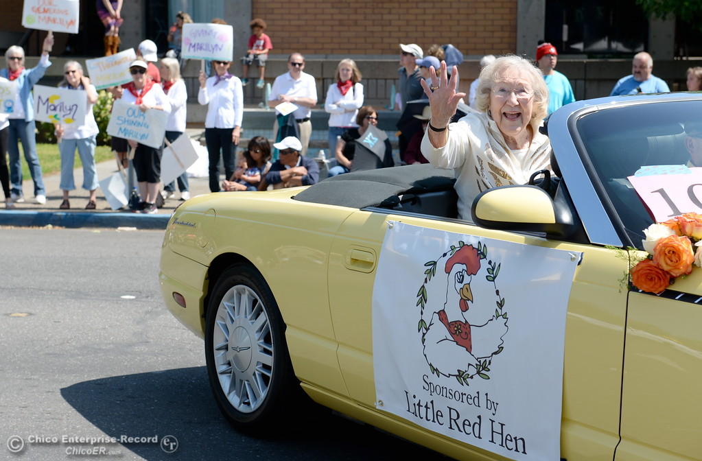 . Honorary Grand Marshal Marilyn Warrens waves during the 100th anniversary Pioneer Parade in downtown Chico, Calif. Saturday May 6, 2017. (Bill Husa -- Enterprise-Record)