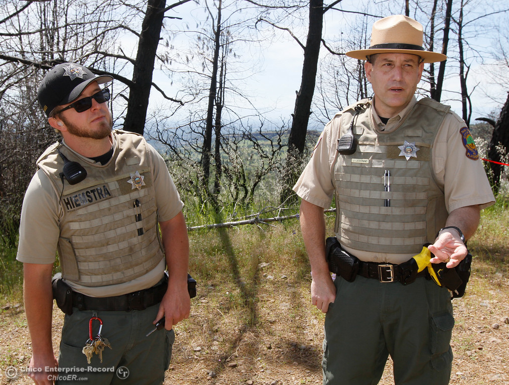 . City of Chico park rangers Daniel Hiemstra and James LeDonne talks about the scope of their duties Thursday April 27, 2017 in Chico, California. (Emily Bertolino -- Enterprise-Record)