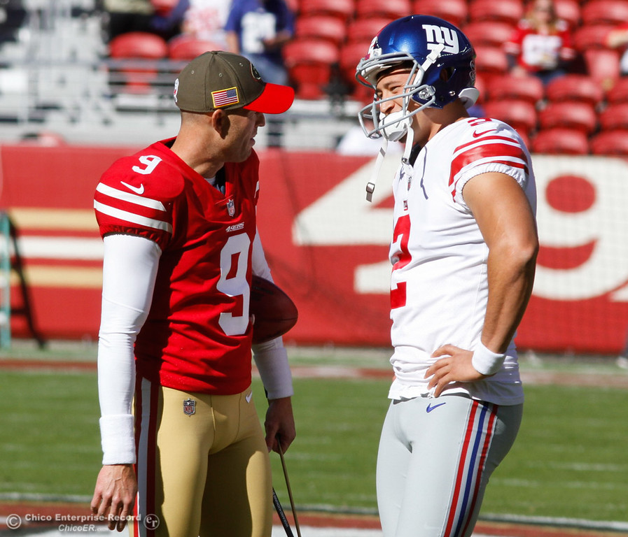 . Orland alum and New York Giants starting kicker Aldrick Rosas talks with San Francisco 49ers kicker Robbie Gould before before today\'s game November 12, 2017 at Levi\'s Stadium in Santa Clara, California. (Emily Bertolino -- Enterprise-Record)