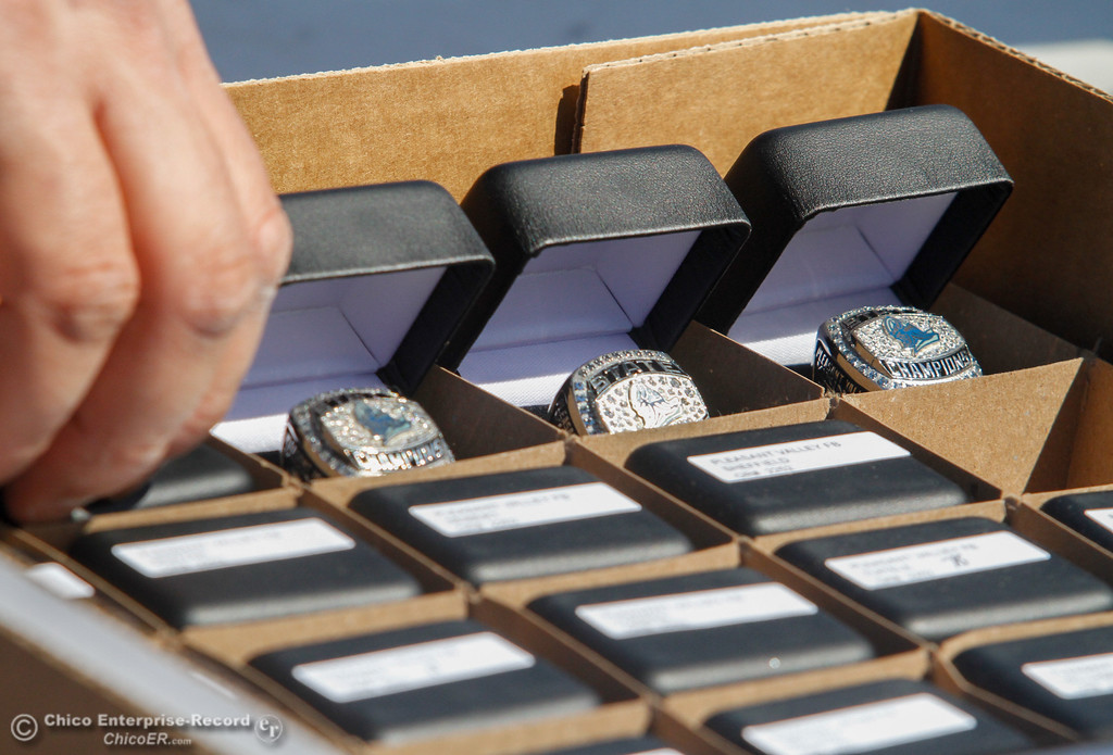 . The Pleasant Valley high school football team got their state championship rings at an unveiling ceremony Thursday April 27, 2017 in Chico, California. (Emily Bertolino -- Enterprise-Record)