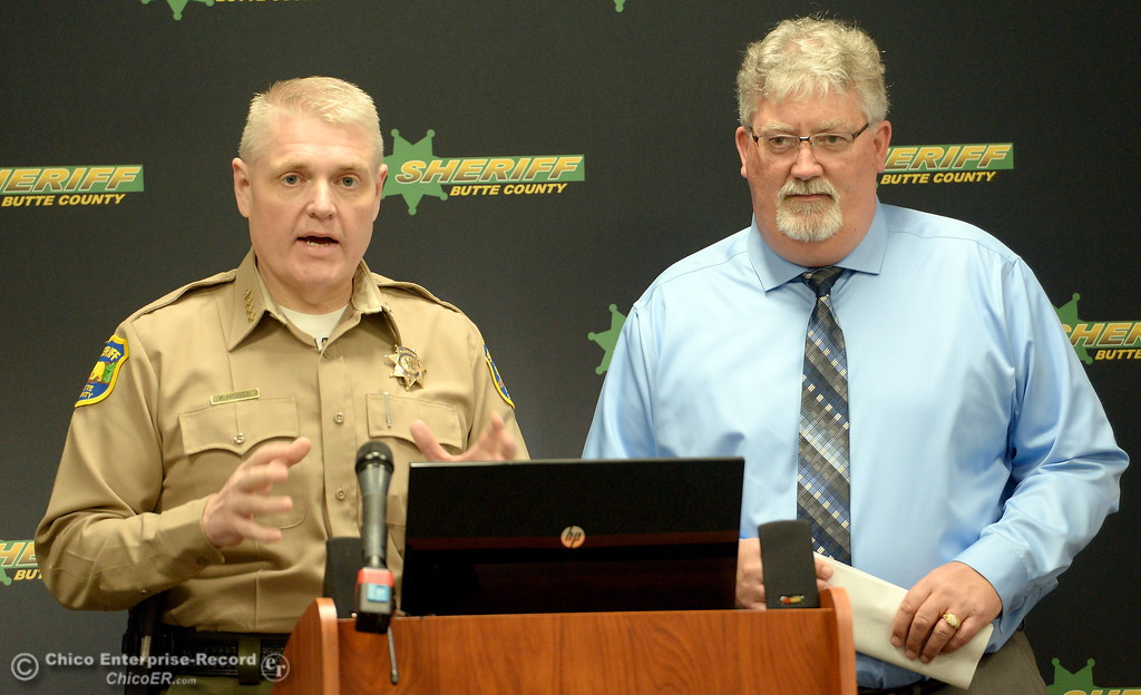 . Butte County Sheriff Kory Honea and DWR Acting Directory Bill Croyle answer questions during a press conference at the Butte County Sheriff\'s Dept. in Oroville to discuss Butte County evacuation plans Thurs. March 9, 2017. (Bill Husa / Chico Enterprise-Record)