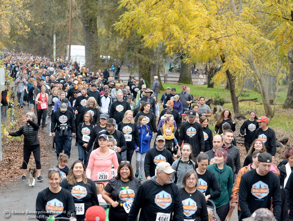 . Lots of happy smiling faces are seen the Jesus Center\'s 12th annual Run For Food at One Mile Recreation Area in Bidwell Park, Chico, Calif. Thurs. Nov. 23, 2017. (Bill Husa -- Enterprise-Record)
