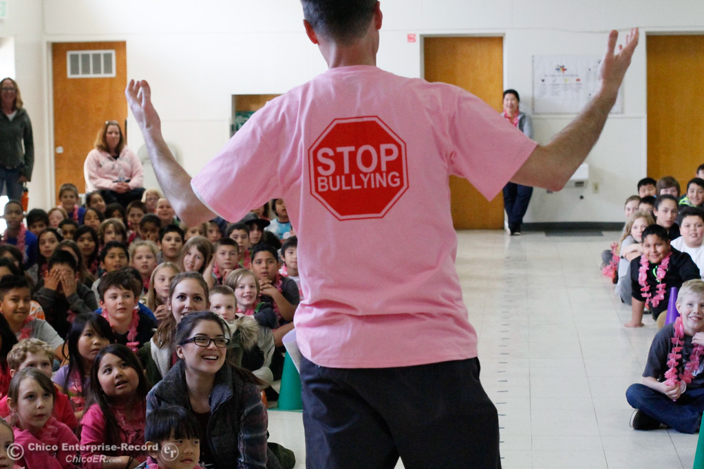 . Chico Unified students participated in Pink Shirt Day an anti-bullying awareness campaign. Chico High students lead an assembly for Chapman students explaining conflict and bullying before students took an anti-bullying pledge Wednesdays February 21, 2017 at Chapman Elementary School in Chico, California. (Emily Bertolino -- Enterprise-Record)
