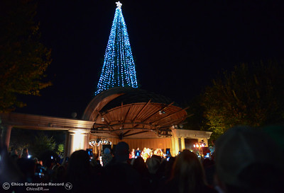 People fill the city plaza for the lighting of the Annual Community Christmas Tree Friday December 1, 2017 in Chico, California. (Emily Bertolino -- Enterprise-Record)